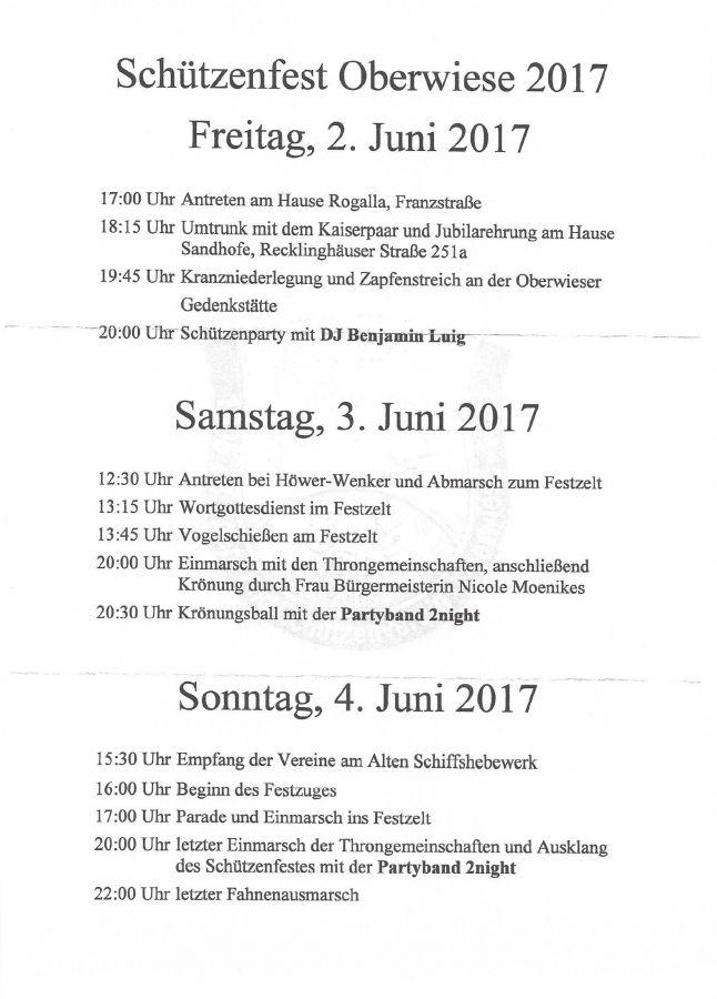 einladung zum schützenfest oberwiese 2017 - bürger-schützenverein, Einladung